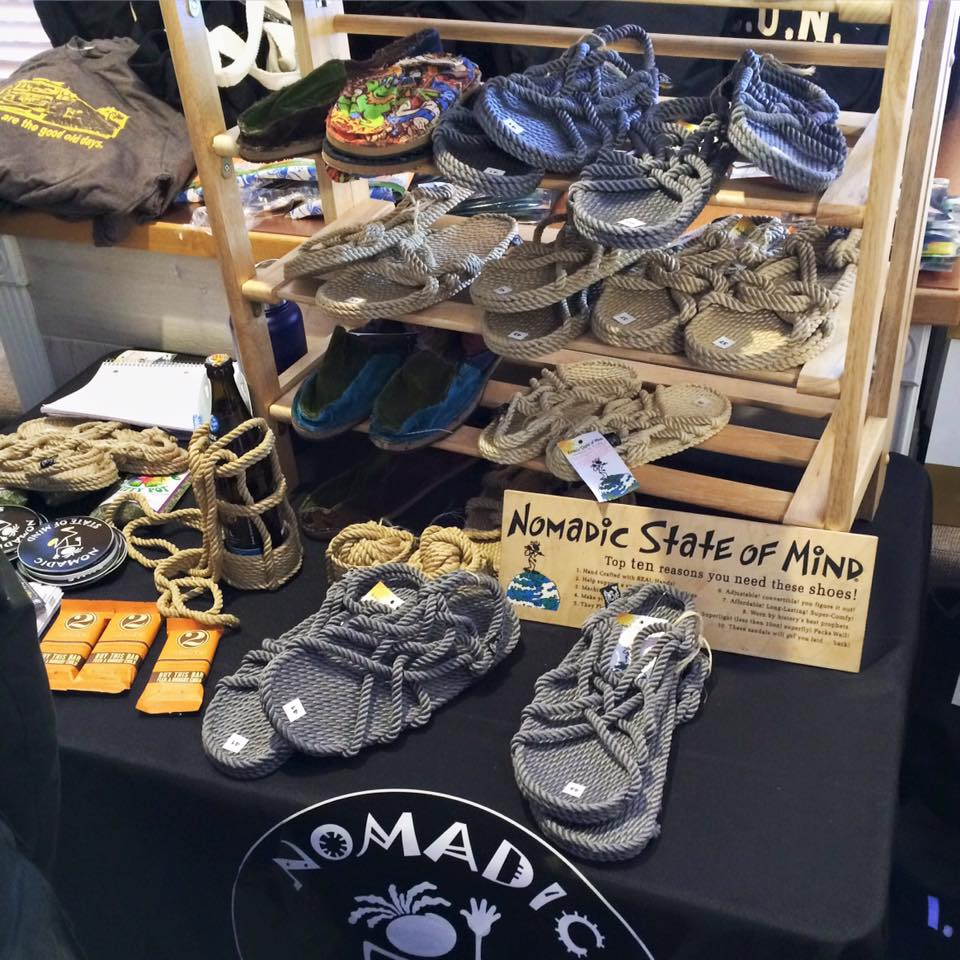 Nomadic State Of Mind gave away handmade rope sandals and beer holders.