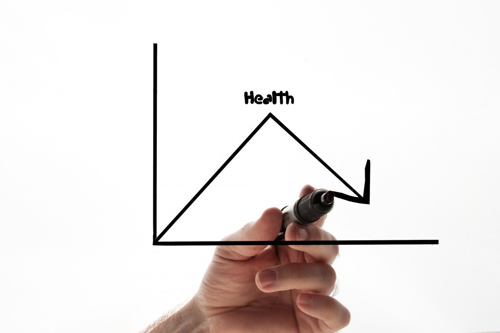 Health related graph with hand