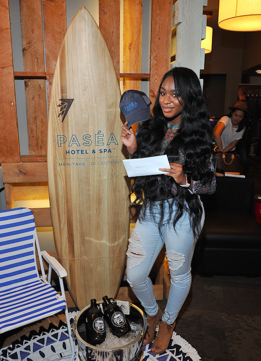 Fifth Harmony's Normani Kordei checks out the Paséa Hotel & Spa at GBK's Pre-Grammy Luxury Suite.