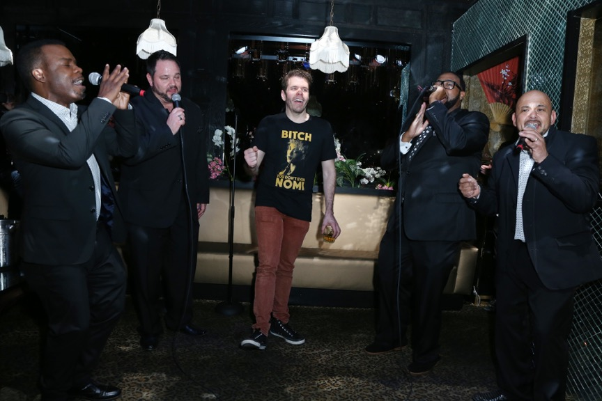 "ALL 4 One sings Perez Hilton ""Happy Birthday"" at his party at Blind Dragon. Photo Credit : Faye Sadou."