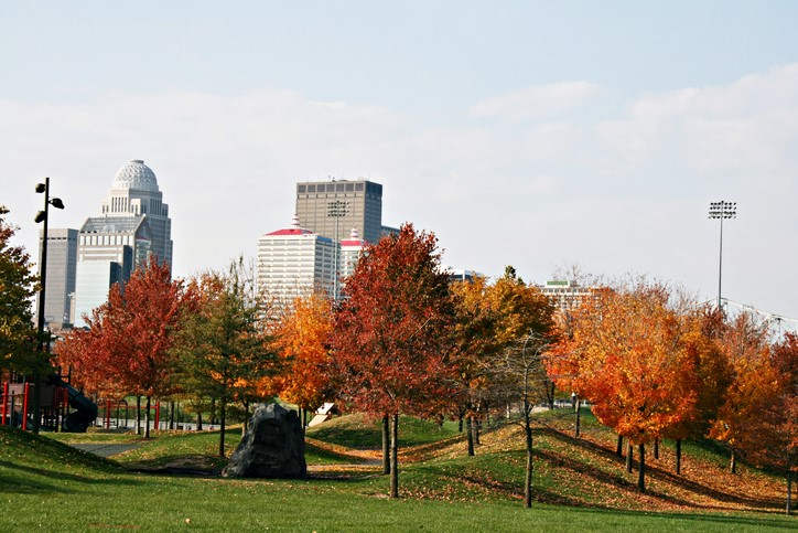 Louisville Kentucky looking west from the Waterfront Park, tree leaves changing color