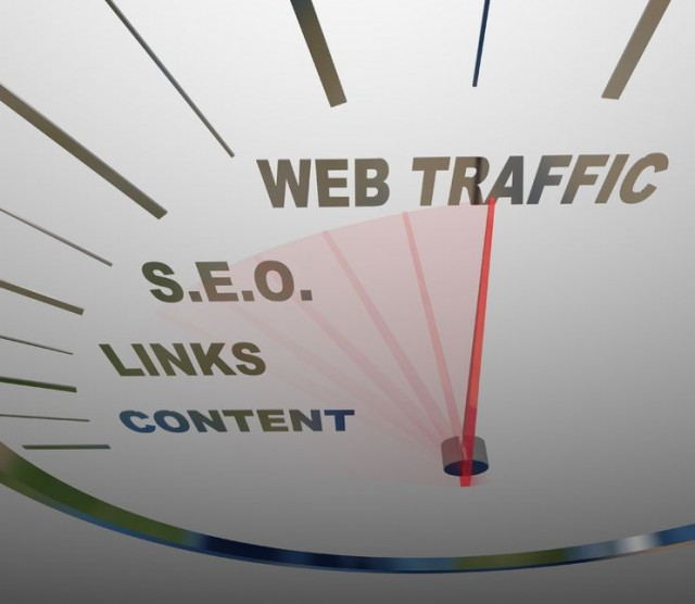 11420530 - a speedometer with needle racing past the necessary elements in a web traffic growth strategy, from content to links to s.e.o. to increased onilne readership