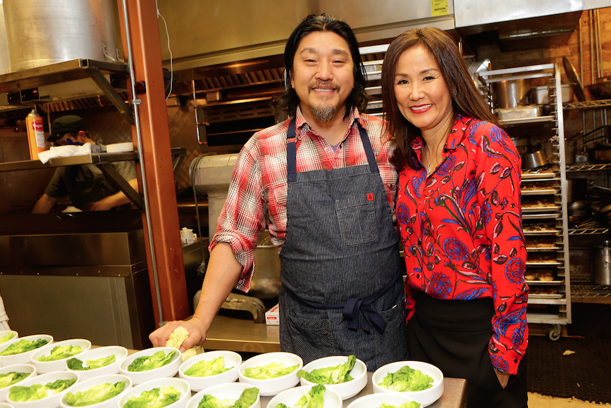 Chef Edward Lee and Mimi Kim catch up at the third night of ChefDance 2017.
