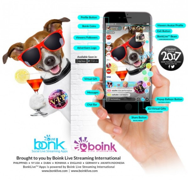 what do boink live streaming snapchat twitter and facebook have