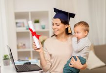 Happy mother student with baby boy and diploma at home