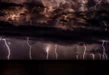 Lightning in stormy sky
