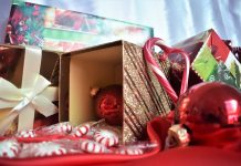 Presents, candy canes, and ornaments