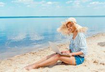 Entrepreneur working on a beach