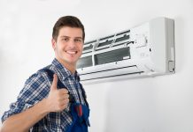 Man Installing AC Unit