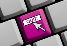 Computer Keyboard Showing Quiz