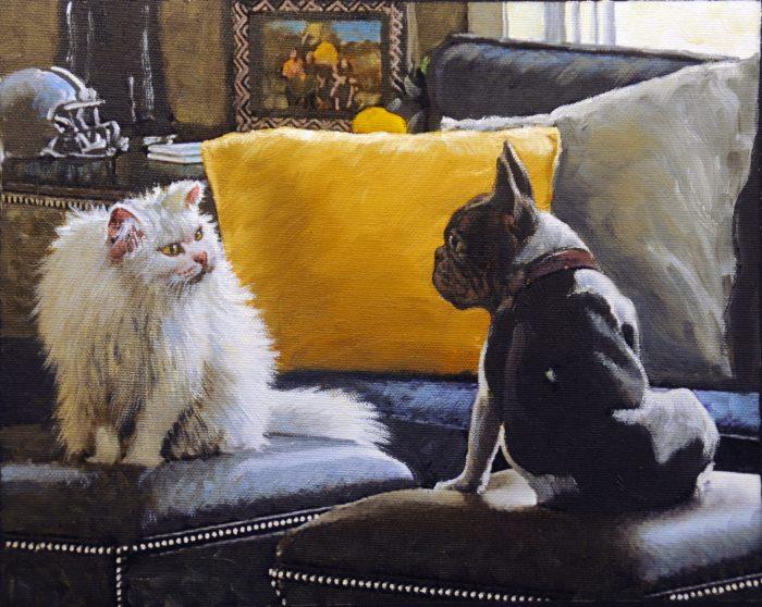 Pintura de perro gato