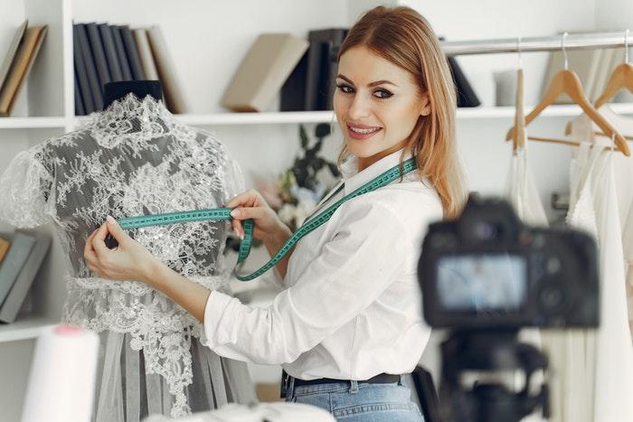 Businesswoman recording a video
