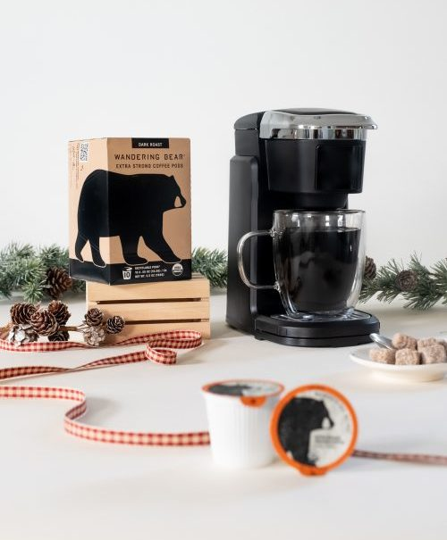Wandering Bear Extra Strong Coffee Pod Brewer + Pods